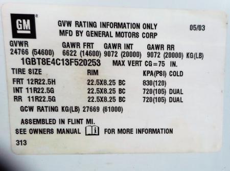 2003 Chevrolet KODIAK C8500 10